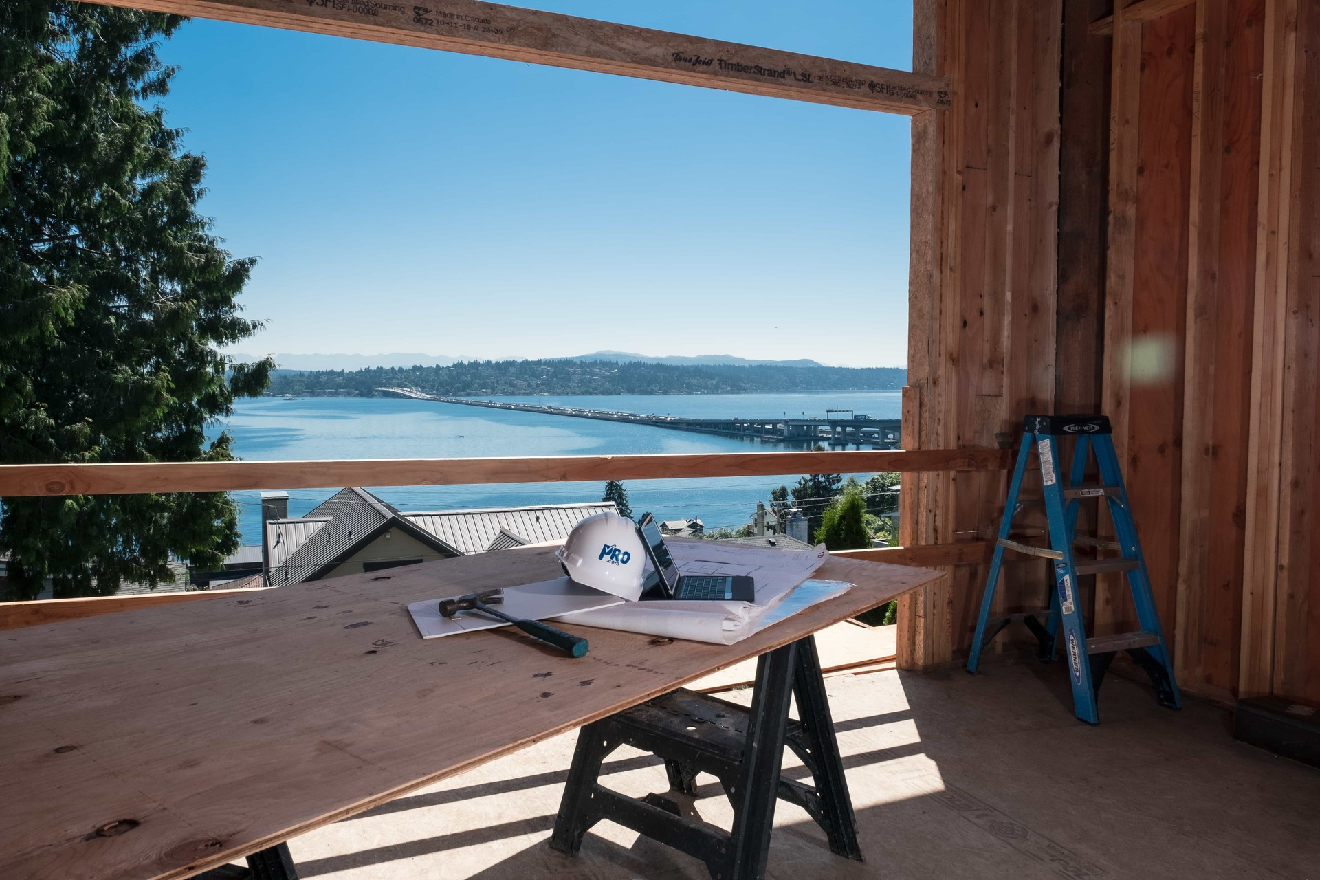 Pro.com view of Lake Washington from home under construction